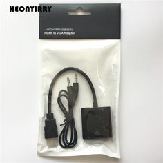 Alta Qualidade HDMI para VGA Adaptador Conversor Macho Para Famale adaptador 1080 P Digital para Analógico De Áudio De Vídeo Para PC Portátil Tablet Analog Signal, Tablet Reviews, Audio, Tablet 7, Hdmi Cables, Power Cable, Consumer Electronics, Laptop