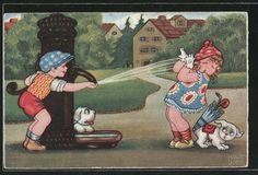 carte postale ancienne: CPA Illustrateur Margret Boriss: Junge spritzt Fille avec Wasser aus Pumpe nass