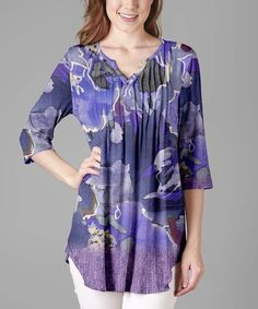 Purple Floral Abstract Three-Quarter Sleeve Tunic - Plus Too