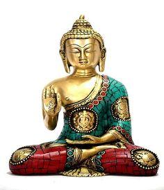 This is large sitting Medicine Buddha figure ( Rare Ashtamangal Buddha sign- Eight Auspicious sign around the buddha). This Buddah figure is