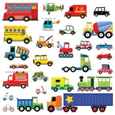 Decowall DW-1205, 28 Transport wall stickers/wall decals/wall transfers/wall tattoos/wall sticker: Amazon.co.uk: Baby