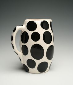 Tall Pitcher with Big Black Polka Dots All Over Hand Painted