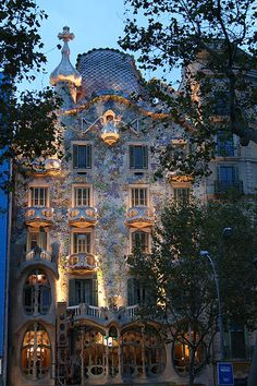 An apartment building designed by Antonio Gaudi, Barcelona, Spain