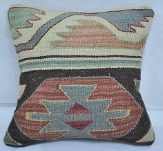 "12"" Wool Geometric Kilim Rug Decorative Pillow Case Cushion Cover~New~5328"