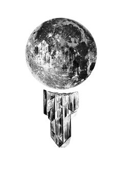 Key To The Universe - Print BW 8.5x11 Illustration Art Wall Decor Hanging Moon Crystal Pencil Collage Mystical Bohemian Full Night