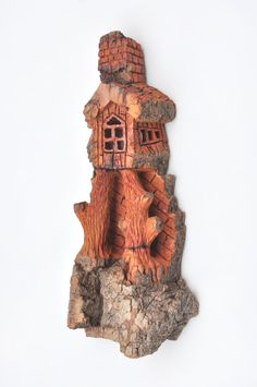 Wood Carving - Cottonwood Bark House - OOAK, Whimsical Wall or Table Decor, Cabin Art, Birthday Gift Idea