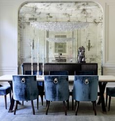 distressed/ antique mirror panel in dining room