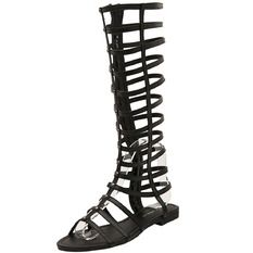 OASAP Knee High Gladiator Sandals Cut Out Flat Strappy Summer Shoes(Black)