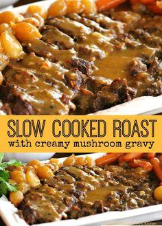 Slow Cooked Roast With Creamy Mushroom Gravy (Slow Cooker Chicken Gravy) Slow Cooked Meals, Crock Pot Slow Cooker, Crock Pot Cooking, Slow Cooker Recipes, Crockpot Recipes, Meat Recipes, Dinner Recipes, Slow Cook Roast Beef, Chicken Recipes