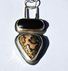 Leopard Skin Jasper Pendant - Obsidian Necklace - Sterling Silver Necklace
