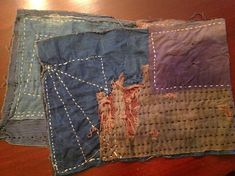 Handmade Japanese boro scarf made from collected boro material, kimonos, and various other antique Japanese textiles. Hand wash only. Measurements: 40 x 12