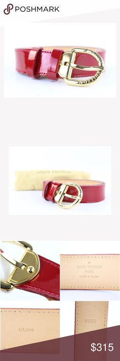 1ce15617b7d1 Louis Vuitton Red Monogram Vernis 19lj0111 Belt OVERALL VERY GOOD CONDITION  ( 7.75 10 or