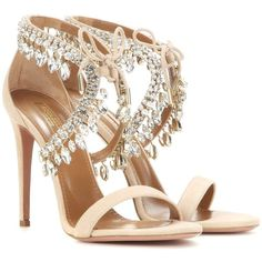 Aquazzura Milla Jewel 105 Embellished Suede Sandals (€1.170) ❤ liked on Polyvore featuring shoes, sandals, neutrals, nude sandals, aquazzura shoes, jeweled sandals, jewel sandals and nude shoes