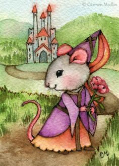"""Mouse Princess"" cute medieval animal art by Carmen Medlin. 5x7"" print, $4.75"