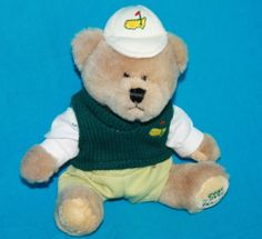 """Masters 2005 Augusta National Bear Plush stuffed jointed animal 8"""" Cooperstown"""