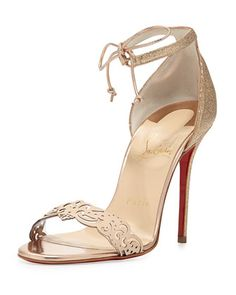 Valnina Glitter Red Sole Sandal, Poudre by Christian Louboutin | SS 2014 | cynthia reccord