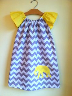 modern elephant in gray and yellow chevron - peasant dress - handmade clothing by noah and lilah
