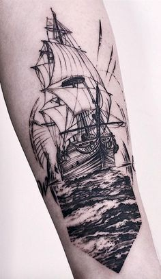 Antique Ship Tattoos To Convey Your Feelings Of Nostalgia. Detailed and vintage. - Antique Ship Tattoos To Convey Your Feelings Of Nostalgia. Detailed and vintage linework nautical sailor ship tattoos for both men and women with a free soul. Detailliertes Tattoo, Tattoos 3d, Tattoo Flash, Tattoo Ship, Bear Tattoos, Tatoos, Nautical Tattoo Sleeve, Nautical Tattoos, Ship Tattoo Sleeves
