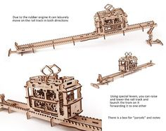Model construction kit Tram with rails Moving by WOODpoint