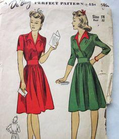 40s DuBarry Gathered Shoulder Day Dress with Midriff Yoke Size 14 Bust 32. $18.95, via Etsy.