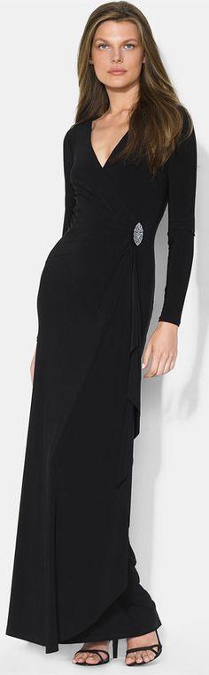 Ralph Lauren Long Sleeve Surplice Jersey Gown