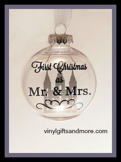 Floating Ornaments - First Christmas as Mr. & Mrs. Temple- Vinyl and Floater Only