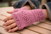 Tea Rose Mitts - fingerless glove knitting pattern, mitt knitting pattern