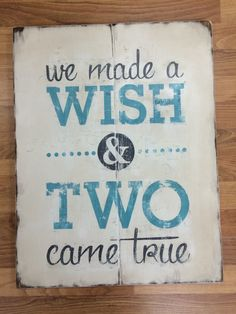 Distressed Wooden Sign We Made a Wish and Two by PoppyseedDesignCo