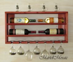 Wooden Wine Rack Kitchen Shelf Rustic Home Decor Horizontal Bottle Holder Wall Red