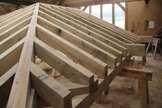 Hips and jack rafters #timberframe in the workshop at Castle Ring