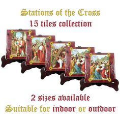 Stations of the Cross 15 tiles collection 2 SIZES AVAILABLE catholic gift religious gift jesus virgin mary christian wall art via crucis