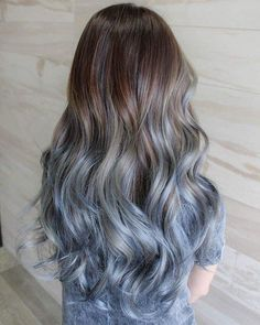 Brown hair with ashy blue ombré