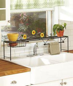 sunflower kitchen   Sunflower Kitchen Over The Sink Shelf w Basket and Towel Rack Space ...