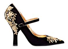 Black with Gold Embroidered Details. ..Beautiful