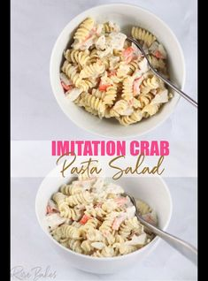This Imitation Crab Pasta Salad Recipe is cool, creamy, and delicious. It's easy to make-ahead and filled with chunks of yummy crab meat. #crabpastasalad #pastasalad #seafoodpastasalad #imitationcrab