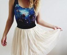 Galaxy print with crimped skirt