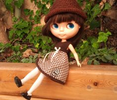 Brown gingham dress for Blythe by RainbowDaisies on Etsy