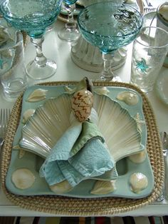 Classic Beach colors.  Design your kitchen around this beautiful Coastal Dinnerware. http://www.sweetgrassvacationrentals.com/