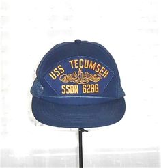 US Navy USS Tecumseh SSBN 628G Blue Snap Back Trucker Hat Embroidered Patch #Unbranded #SnapBackMeshTruckerHat