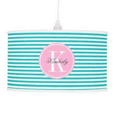 Teal Stripes with Bubblegum Pink Monogram Hanging Lamps #lamp #home #decor