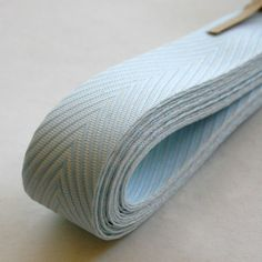 Chevron Twill Herringbone Ribbon - Baby Blue and White 3/4 Inch Width - Packaging and Gift Ribbon. $4.45, via Etsy.