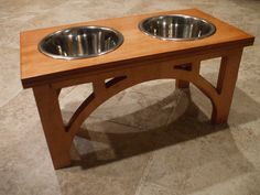 1 Quart 8 Inch Double - Sellwood Design -  Elevated Pet Feeder - Stained the Color of Your Choice on Etsy, $45.00
