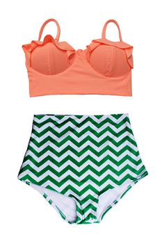 9f0300a5ec Old Rose Orange Midkini Top and Zig Zag High Waisted Waist High-waist High-waisted  Swimsuit Swimwear Bikini Two piece Bathing suit suits S M