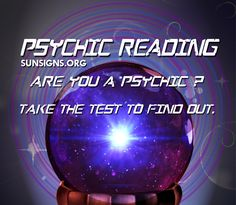 Have you taken the psychic test yet? Are you psychic? Psychic Test, Psychic Abilities Test, Psychic Powers, Free Astrology Reading, Psychics, Sun Sign, Psychic Readings, Reading Online, Romance