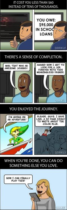 Why Finishing a Videogame is Better than Graduating