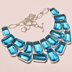 FACETED LONDON BLUE TOPAZ GORGEOUS .925 SILVER NECKLACE #Handmade #Choker