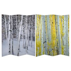 Oriental Furniture Birch Trees Double Sided Room Divider