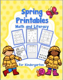 Spring Printables for Kindergarten - Math and Literacy Printables 43 pages covering many kindergarten common core skills.