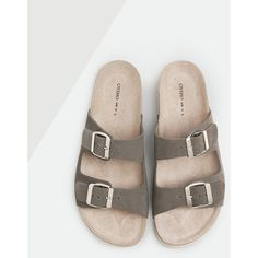 Double buckle bio sandals - OYSHO (955 CZK) ❤ liked on Polyvore featuring shoes, sandals, gladiator sandals, double buckle sandals, women shoes, double buckle shoes and two buckle sandals