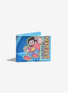 """<p><span id=""""webDesc"""">Bi-fold wallet from Cartoon Network's <i>Steven Universe</i> with a """"Believe In Steven"""" design. Inside has card slots, billfold and ID display.</span><span id=""""webDescSpan""""> The only question is... will it hold gems?</span></p>  <ul> <li><span id=""""bullet0"""">4 1/4"""" x 3 1/2""""</span></li> <li><span id=""""bullet1"""">Imported</span></li> </ul>"""